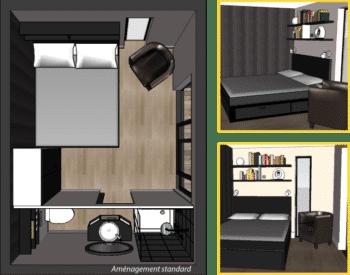 Plan mini loft 12m2